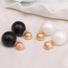 Fashion Stud Earring Double Sided Simulated Pearl Earrings Jewelry Women Brincos Matte Stud Earrings for Women Fine Jewelry Gift