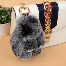 Rabbit Keychain Cute Fluffy Rex Genuine Bunny Fur Pompoms Key Chain Snow Frost White Fur Pom Pom Keychain Bag Car Charm Pendant