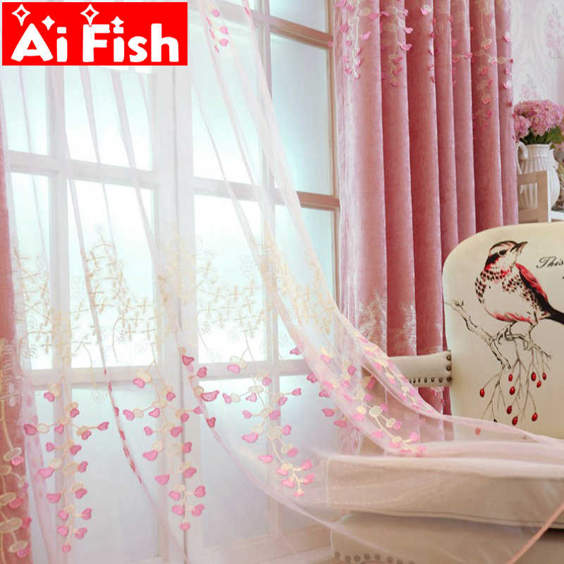 Pink Relief Chenille American Pastoral Embroidery Curtain Fabric For Living Room Thick Shade Curtain Cloth Wedding Room wp189-30