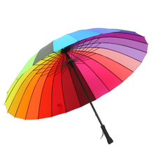24K  Women parasol Rainbow Umbrella Big Long Handle Straight Colorful Umbrella Female Sunny And Rainy Umbrella