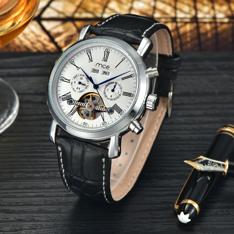 2017 Fashion MCE Mens Automatic Self-wind Mechanical Metal Skeleton Watches Black Leather Strap orologio uomo automatic<br>