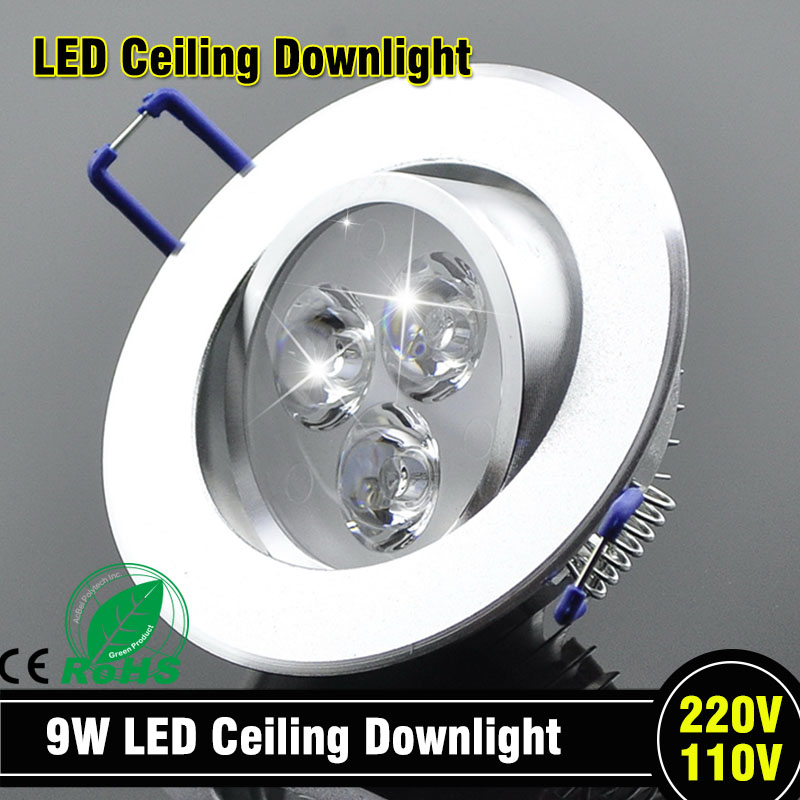 Wholesale 9W Ceiling downlight Epistar LED ceiling lamp Recessed Spot light AC85-265v for home illumination led bulb light(China (Mainland))