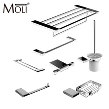 Modern bathroom accessories set wall mount chrome finish towel bar shelf brush holder paper roll rack bath hardware sets