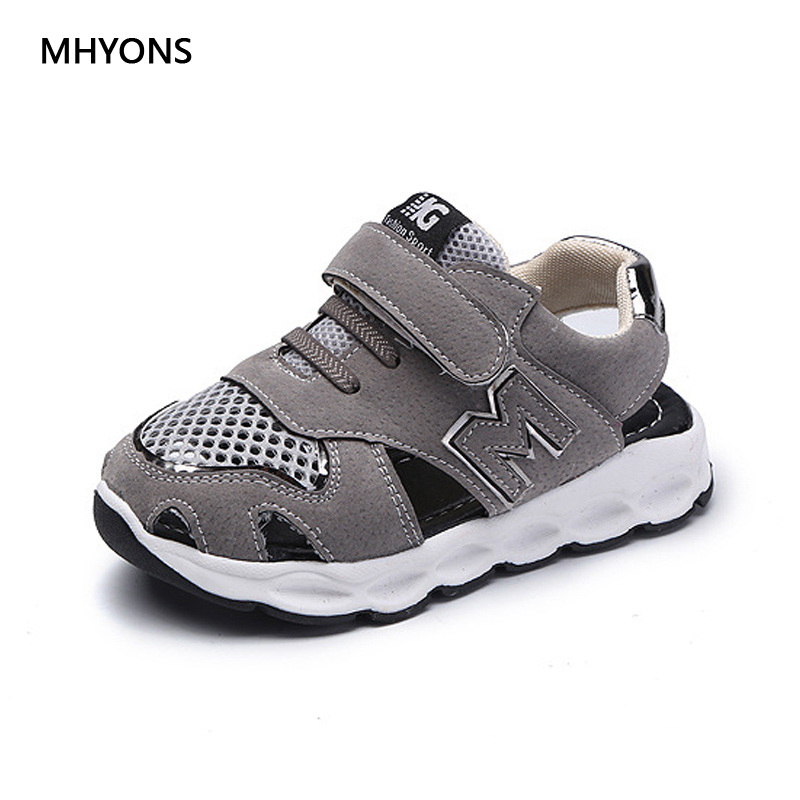 MHYONS Children Sandals 2018 New Arrival Summer Mesh Sandals Shoes Closed Toe Sandals Casual Ankle-wrap Sport Kids S36