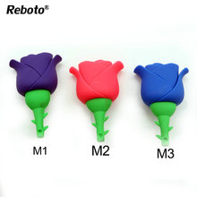3 Colors usb stick Rose flower usb flash drive 64GB Romantic Reboto pen drive 4GB 8GB 16GB 32GB flash memory pendrive stick(China)