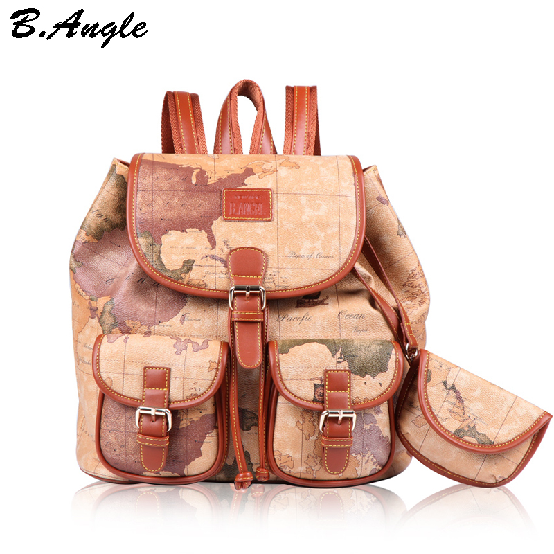 Fashion vintage high quality world map backpack women backpack leather backpack printing backpack<br>