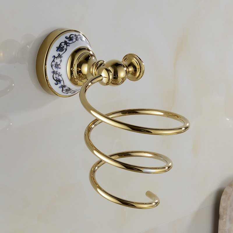 Free Shipping Wholesale And Retail Golden Brass Wall Mounted Hair Dryer Holder Bathroom Hair Rack Bathroom accessories XE3381<br><br>Aliexpress