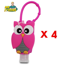 4pcs/lot Antibacterial Portable Hand Sanitizer Holder Cartoon Owl Silicone Bath Body Works With Empty Bottle 4Items(China)