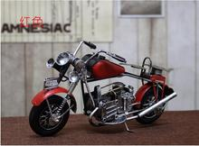 Home Decoration Crafts Figurines Miniatures iron antique imitation Vintage colored drawing motorcycle models free shipping