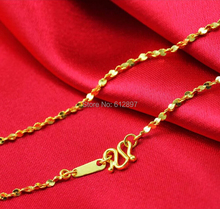 Hot sale Solid 24K Yellow Gold Chain Necklace/ Star Chain Necklace/ 3.05g(China)