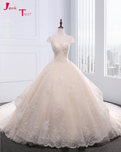 Jark Tozr New Design Cap Sleeve Open Back Chapel Train Princess Wedding Dresses Turkey 2017 Mariage Appliques Flower Bridal Gown(China)