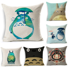 Cute Totoro Cartoon Printed Cotton Linen Cushion Cover Decorative Pillowcase Use For Home Sofa Car Office Almofadas Cojines(China)