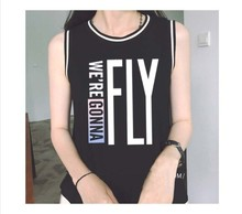 Kpop concert FLY IN SEOUL GOT7 Wang Jia Er a long short sleeve T-shirt vest harness women's summer clothing k-pop T-Shirt