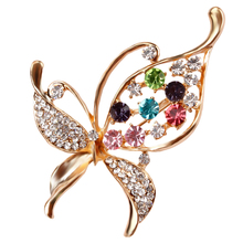 Crystal Rhinestones Assorted Butterfly Brooch Pins Fashion Costume Jewelry for Women or Girls