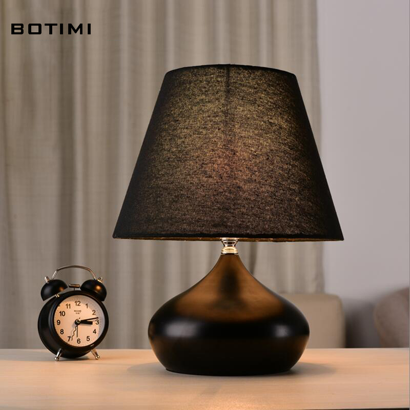BOTIMI Elegant white black table lamp with lampshade abajur de mesa lamparas  desk lamp for bedroom reading lighting fixture <br><br>Aliexpress