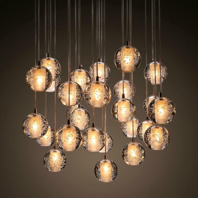 Ecolight Free Shipping Modern Led Pendant Light Transparent Crystal Globes Stairs Loft Lighting Suspension Dinning Lamp<br>