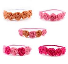 1pcs 2017 Retail Floral Headband Five fabrics felt rose Flower with thin elastic hairbands Headwear hair accessories