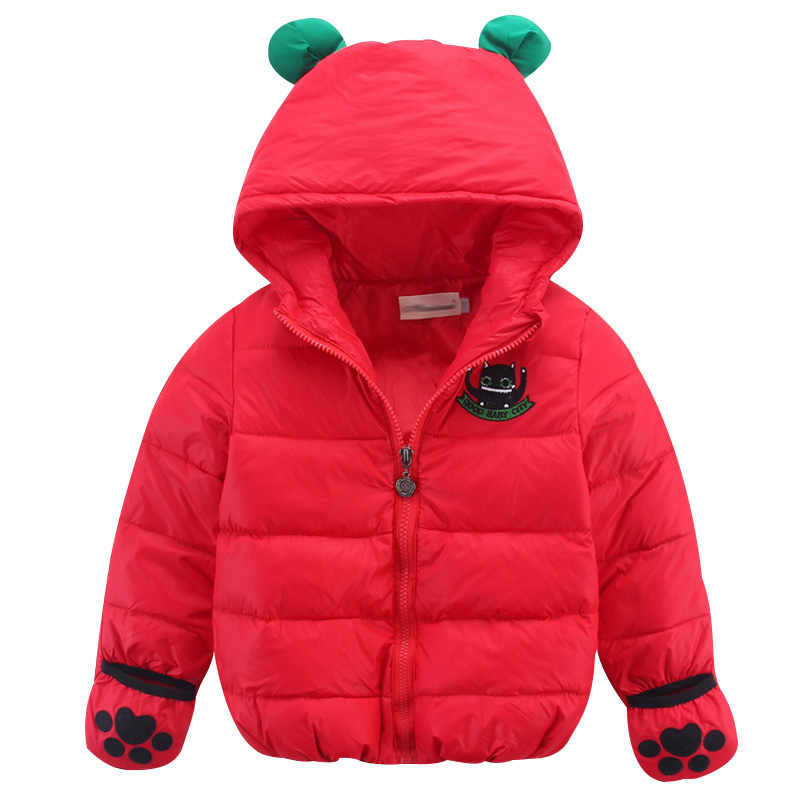 2016 Winter Toddler Baby Fashion Hooded Jacket Children Boys Girls White Duck Down Long Sleeve Gloves Coat Clothes Kid Cute TopsОдежда и ак�е��уары<br><br><br>Aliexpress