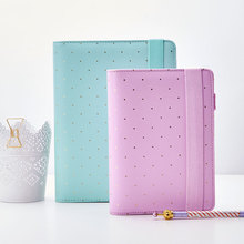 Free shipping 2017 Dokibook A5 A6 mint lilac pink notebooks planner PU Leather notebooks Diary Agenda kawaii office stationery