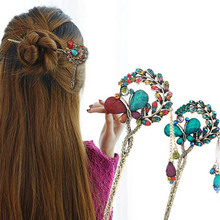 Hair Sticks Top Selling Luxury Hair Jewelry Discount Hair Accessories Women Wedding Promotion Gem Butterfly Flower(China)