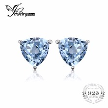 JewelryPalace 1.8ct Trillion Sky Blue Topazs Earring Stud 925 Sterling Silver Jewelry For Women Vintage Jewelry Gift(China)