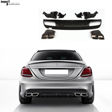 2015 2016 c63 amg Mercedes W205 ABS rear diffuser with exhaust tips for benz c class W205 amg package C200 C220 C250 C300 C350(China)
