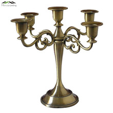 5PCS/LOT Metal Silver/Gold Candlestick Candle Holders 5-Arms Stand Zinc Alloy Pillar For Wedding Deco Portavelas Candelabras(China)