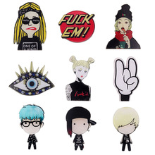 Japan Harajuku Girls Cartoon Acrylic Brooch Pin Cool Eye Lazy Egg Cute Animal Unisex Fashion Jewelry knapsack Accessory