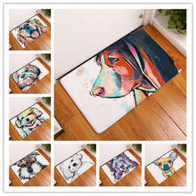 Lovely Painting Dog Print Carpets Animal Home Non Slip Door Floor Mats Hall Outdoor Rugs Dust Proof Kitchen Bathroom Carpet(China)
