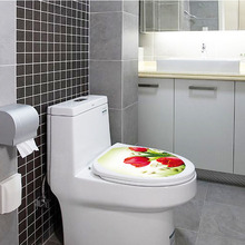[Fundecor] diy home decor waterproof pvc red flower toilet sticker for bathroom decoration wall decals adesivo banheiro