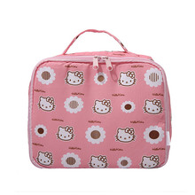 Cute Kawaii Pink Hello Kitty Cat Large Capacity Drawstring Cosmetic Bag for Make Up Toiletry Makeup Pouch Travel Storage Bags