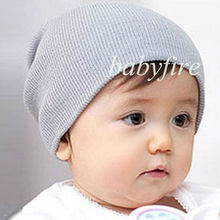 Cheap Attractive Kid Plain Skull Cap Beanie Candy Solid Color Knit Wool Crochet Slouch Hat(China)