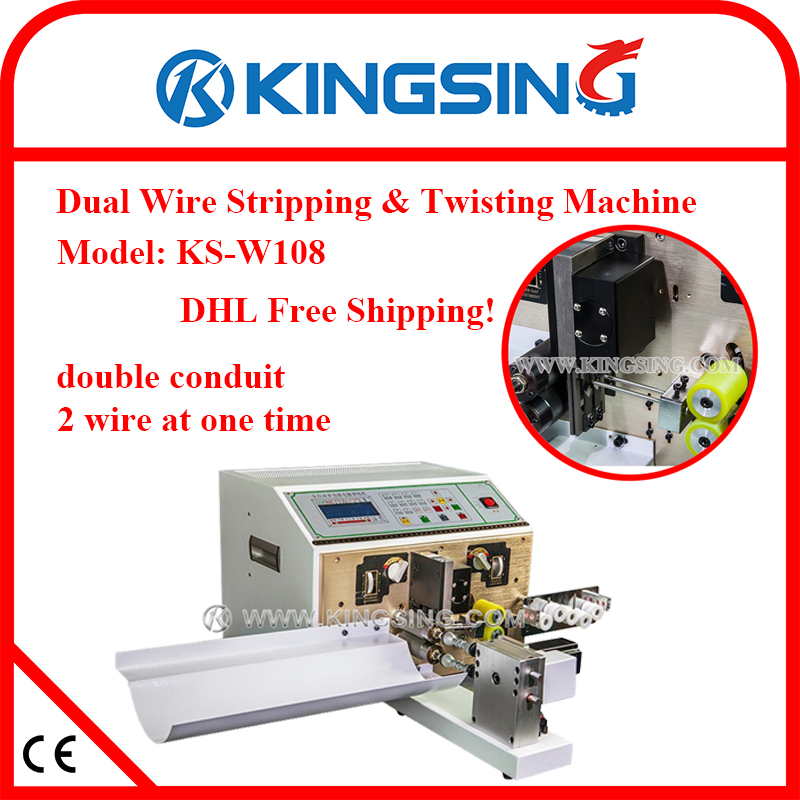 High Performance Programmable Thin Wire Cutting Stripping Twisting Machine KS-W108, 2 wires at one time + DHL Free Shipping(China)