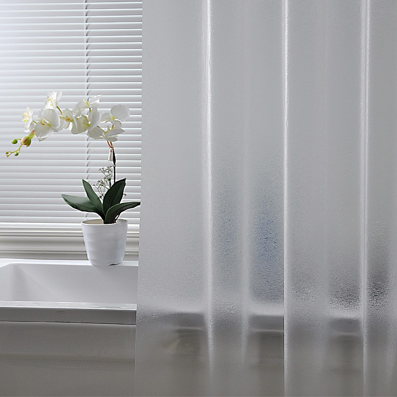 Bath-Shower-Curtain-Grind-Arenaceous-Translucent-Solid-Color-Europe-Mildew-Proof-Waterproof-PEVA-Fabric-Multiple-Sizes