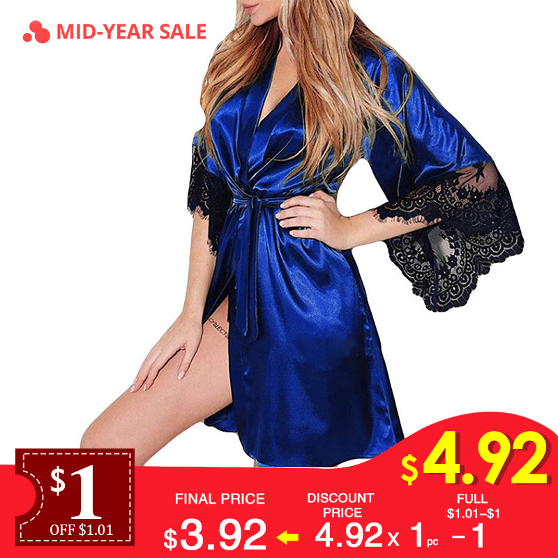 Women Sexy Faux Silk Night Gown Kimono Lingerie Belt Lace Bath Robe Nightwear Nightdress Sleepwear Nightgown Bridesmaid Robes #D(China)