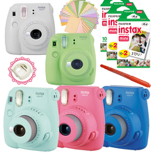 New 5 Colors Fujifilm Instax Mini 9 Instant Camera + 50 Photos Fuji Instant Mini 8 White Frame Film + Free 20pcs Stickers & Pen(Hong Kong)