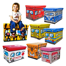 2017new School Bus Style Cute Colorful Children Folding Kids Storage Box Seat Pop Up Toy Chest (Random Color)