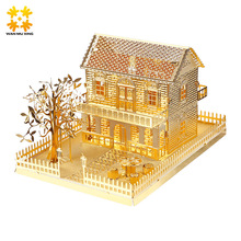 WMX Gold Villa 3D Metal Puzzle Children DIY Assembly Model Buildings Jigsaw Puzzle Exercise Brain Educational Kids Toys(China)
