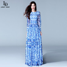 HIGH QUALITY New 2015 Fashion Women's Long Sleeve Vintage Blue And White Print Dress Brand Maxi Dress(China)
