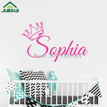 Personalized Girls Name Wall Sticker Crown Vinyl Wall Decal for Chirldren Room Baby Bedroom Decor Nursery Wall Art Poster J107