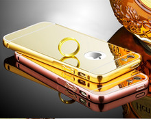 "Fashion Metal Mirror Case for Apple iPhone 4 4S 5 5S SE 6 6S 7 Plus 4.7"" 5.5"" Protective Phone Back Cover"