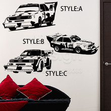 Art Design home decoration Vinyl beautiful Audi Race car Wall Sticker removable house decor PVC sports Vehicle auto decals