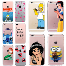 Homer Case for iphone 6 6s 5 5s SE 7 plus Soft TPU Silicone Cover Stitch Minions Flamingo Mermaid Cheap Simpson Coque Fundas