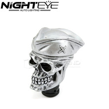 Universal Auto Car Gear Shift Knob Skull Caribbean Pirate Silver Knob Lever Automobiles Speed Manual Shifter Gear Cover
