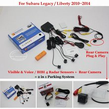 For Subaru Legacy Liberty 2010~2014 - Car Parking Sensors + Rear View Back Up Camera = 2 in 1 Visual / BIBI Alarm Parking System