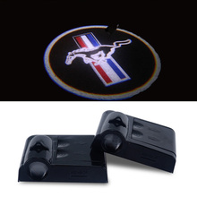 2x Car LED Door Warning Light For Mustang Logo Projector Lights Univeral For Ford Mustang Emblem V6 GT 500 Accessories