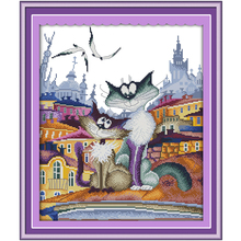 A Gorgeous City Cat Counted Cross Stitch 11CT 14CT Cross Stitch Sets Wholesale Chinese Cross-stitch Kits Embroidery Needlework