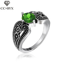 CC Jewelry Vintage Silver Color Oval Green Stone CZ Rings For Women Romantic Engagement Gift Cocktail Ring CC543