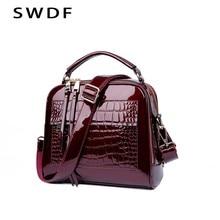 e7081fa8f1 SWDF New Designer Women s Handbags Quality Oil Pu Women Messenger Bag  Crocodile Pattern Patent Leather Shoulder Bags Ladies