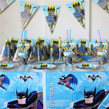 82pcs Batman Cartoon Party Set Disposable Paper Flag/Tablecloth For Boy Kids Birthday Party Pack Decoration Supplies For 6 Kids